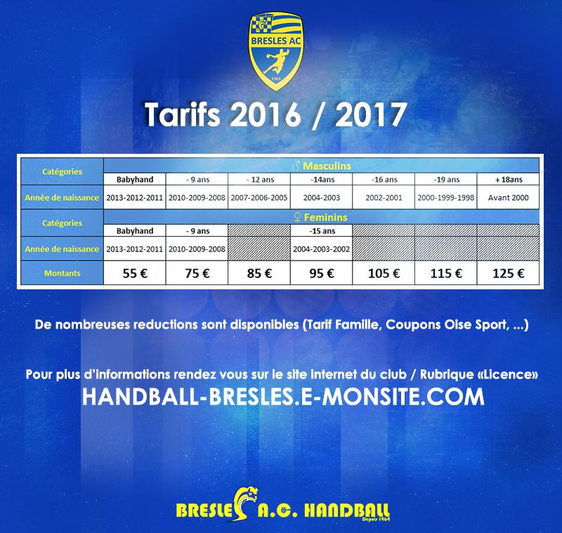 Tarifs 2016 2017